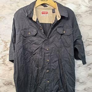 Wrangler Men's Black Shirt Button Up Short Sleeve